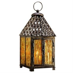Amber Mosaic Glass Lantern / Candle Holder