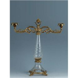 LEAD CRYSTAL AND BRASS CANDLEHOLDER