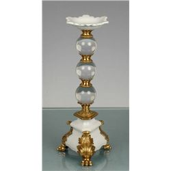 CRYSTAL AND PORCELAIN CANDLEHOLDER