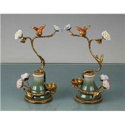 FINE PORCELAIN & BRASS BOOKENDS
