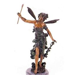 """Girl With Rose"" Bronze Sculpture - A.  Moreau"