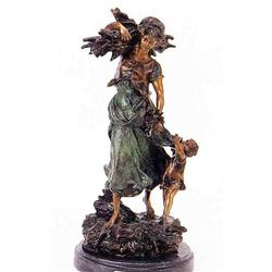 """Wood Woman With Child"" Bronze Sculpture - A. Moreau"