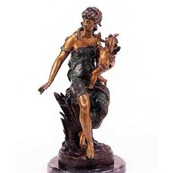"""""""Seated Woman With Cupid"""" Bronze Sculpture - A. Moreau"""