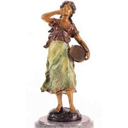 """Tambourine Girl"" Bronze Sculpture - A. Moreau"