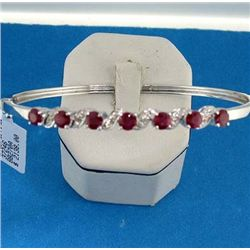 18K RUBY AND DIAMOND BANGLE