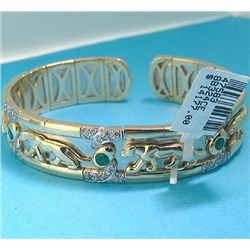 14K BANGLE WITH EMERALDS AND DIAMONDS