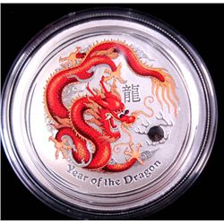 2012 AUSTRAILIAN YEAR OF THE DRAGON  HALF OUNCE SILVER  COLORIZED COIN