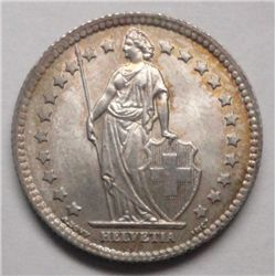 1921  Swiss franc  GEM  BU very scarce in this grade