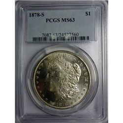 1878-S MORGAN DOLLAR MS 63 PCGS