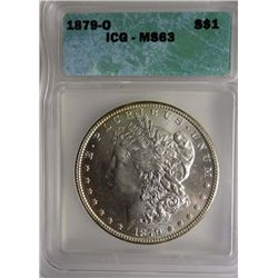 1879-O MORGAN SILVER DOLLAR ICG MS63