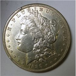 1888-S MORGAN DOLLAR UNC, MINOR RIM DING