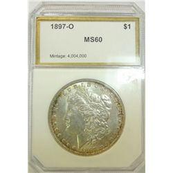 "PCI 1897-O Morgan $, MS60,Light gold tone at edges,  v.nice for a ""60"""