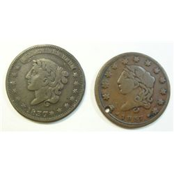 (2) 1837 HARDTIMES TOKENS MILLIONS FOR DEFENCE VF,1837 SMALL DATE VF HOLED SCARC