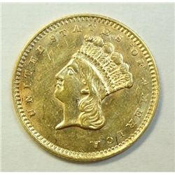 1857 $1 Gold, type 3, Ch Bu 62, Satiny Luster, would make an exc type coin