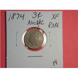 1874 3 CENT NICKEL