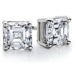1.25 ctw Princess cut Diamond Stud Earrings G-H, VVS