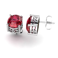 Garnet 4.20ctw Earring 14kt White Gold
