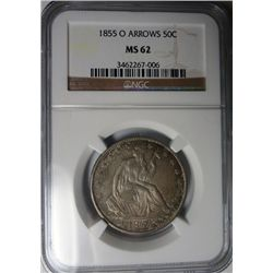 1855-O ARROWS SEATED HALF DOLLAR NGC MS62 BEAUTIFUL COLOR!