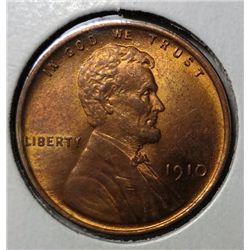 1910 LINCOLN ONE CENT GEM RED BU, SUPER!