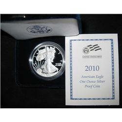 2010 PROOF AMERICAN SILVER EAGLE, ORIGINAL MINT BOX AND CERTIFICATE