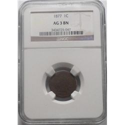 1877 Indian penny  NGC AG3 BN