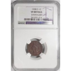 1908S Indian penny  NGC  VF dmg