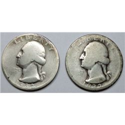 1932D  AG--1932S  Good Washington quarter