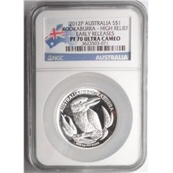 2012P Australia $1 Kookaburra high relief early releases 1 oz. silver