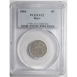 1866 Shield nickel  PCGS12