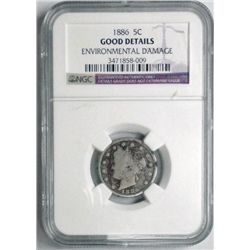 1886   V nickel  NGC good environ dmg