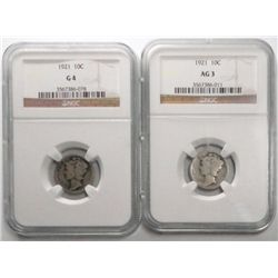 2   1921  Mercury dimes  NGC03 and 04