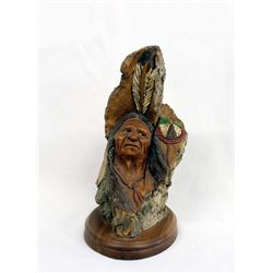 Carved Wooden Bust by J. Burke ''Running Horse''