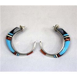 1950 Zuni Inlay Pierced Earrings - Tsethliari