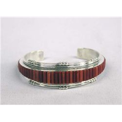 Navajo Sterling Coral Inlay Bracelet by Douglas