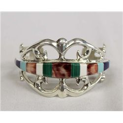 Navajo Sterling Channel Inlay Sand Cast Bracelet