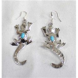 Navajo Sterling Silver Lizard Earrings - Yazzie