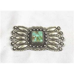 Navajo Sterling Turquoise Pin - Herman Smith
