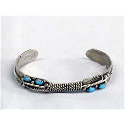 Navajo Sterling Silver Turquoise Feather Bracelet