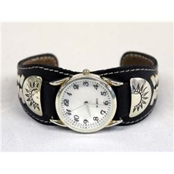 Southwest Style Leather Silver Watch Bracelet