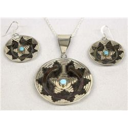 Navajo Sterling Turquoise Necklace & Earrings Set
