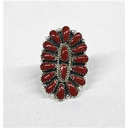 Navajo Sterling & Coral Cluster Ring by Williams