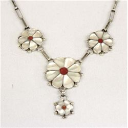 Zuni Sterling MOP Coral Necklace Set by Vallestewa
