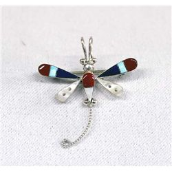 Zuni Sterling Channel Inlay Dragonfly Pin/Pendant