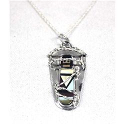 Zuni Sterling Inlay Cradleboard Pendant Necklace