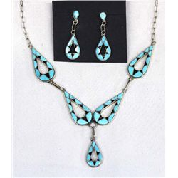 Zuni Sterling Turquoise Necklace & Earrings Set