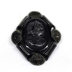 Vintage Estate Cameo-Style Black Brooch