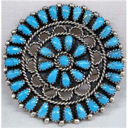 Navajo Sterling Turquoise Cluster Pin/Pendant