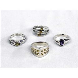 Collection of 4 Sterling Silver & Gemstone Rings