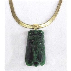 Antique Carved Jade Cicada Pendant Necklace