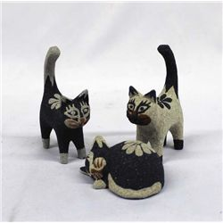 Balinese Hand Carved Cat Figures